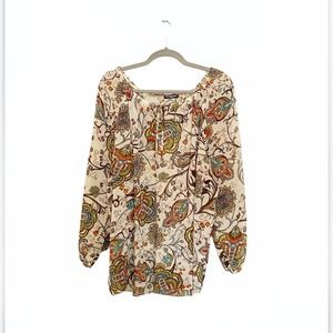 Cha Cha Vente Sheer Paisley Print Blouse XL